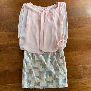 Worn once Aiden Mattox pastel pink sequin dress